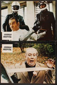 5y058 HORROR HOSPITAL 3 German LCs '73 Michael Gough, English sci-fi horror, great images!