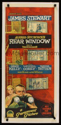 5z022 REAR WINDOW linen Aust daybill '54 Hitchcock, Grace Kelly, Richardson Studio stone litho!