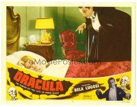 5z268 DRACULA LC #4 R51 creepy vampire Bela Lugosi stands over Helen Chandler sleeping in bed!