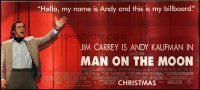 6a050 MAN ON THE MOON 30sh '99 Milos Forman, great image of Jim Carrey as Andy Kaufman on stage