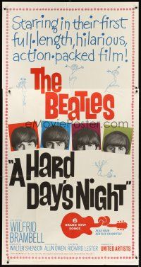 6a033 HARD DAY'S NIGHT 3sh '64 great image of The Beatles, rock & roll classic!