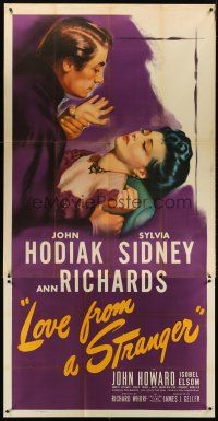 6a038 LOVE FROM A STRANGER 3sh '47 Sylvia Sidney resists John Hodiak, from Agatha Christie story!