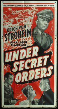 6a042 UNDER SECRET ORDERS 3sh '43 Erich von Stroheim, gripping expose of a most sinister spy ring!