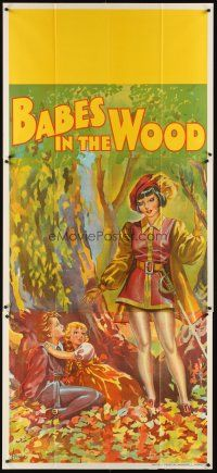 6a018 BABES IN THE WOOD stage play English 3sh '30s stone litho of female hero finding lost kids!