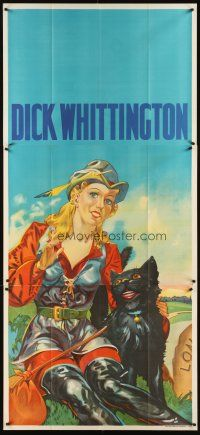 6a020 DICK WHITTINGTON stage play English 3sh '30s stone litho of sexy female lead & smiling cat!