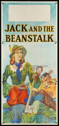 6a021 JACK & THE BEANSTALK stage play English 3sh '30s stone litho art of female Jack & axe!