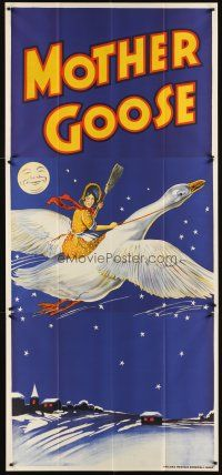 6a022 MOTHER GOOSE stage play English 3sh '30s stone litho art of mom holding broom & riding goose!