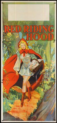 6a023 RED RIDING HOOD stage play English 3sh '30s stone litho of sexy Red with wolf trailing behind!