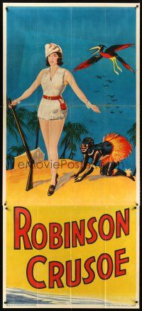 6a024 ROBINSON CRUSOE stage play English 3sh '30s great stone litho of sexy female hero & Friday!