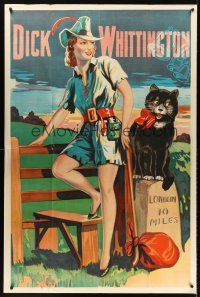 6a017 DICK WHITTINGTON stage play English 40x60 '30s cool stone litho of sexy female lead & cat!
