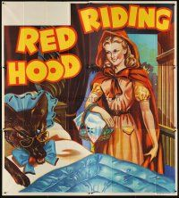 6a016 RED RIDING HOOD stage play English 6sh '30s stone litho of Red by wolf disguised in bed!