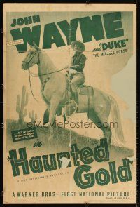 6a077 HAUNTED GOLD foamcore backed 1sh R39 cowboy John Wayne on Duke, the miracle horse!