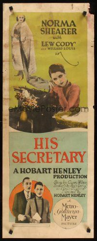 6a004 HIS SECRETARY insert '25 pretty Norma Shearer & Lew Cody in early office romance comedy!