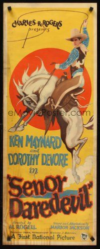 6a005 SENOR DAREDEVIL insert '26 great art of Ken Maynard on bucking bronco swinging lasso!