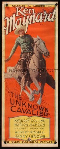 6a006 UNKNOWN CAVALIER insert '26 incredible art of cowboy Ken Maynard riding charging Tarzan!