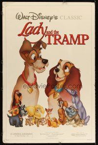 6a078 LADY & THE TRAMP foamcore backed 1sh R86 Walt Disney romantic canine dog classic cartoon!