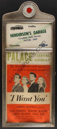 6a015 PALACE THEATRE glass & metal display frame '52 working thermometer & I Want You window card!