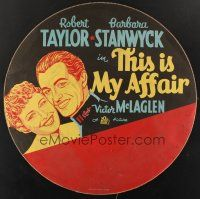 6a001 THIS IS MY AFFAIR tire cover '37 Barbara Stanwyck, Robert Taylor, Victor McLaglen!