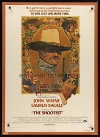 6a079 SHOOTIST boardbacked 1sh '76 best Richard Amsel artwork of cowboy John Wayne & cast montage!