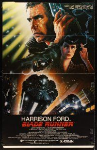 6a055 BLADE RUNNER standee '82 Ridley Scott sci-fi classic, art of Harrison Ford by John Alvin!