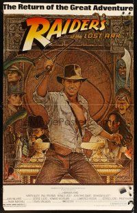 6a060 RAIDERS OF THE LOST ARK standee R82 great art of adventurer Harrison Ford by Richard Amsel!
