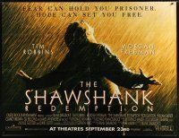 6a074 SHAWSHANK REDEMPTION subway poster '94 Tim Robbins, Morgan Freeman, written by Stephen King!