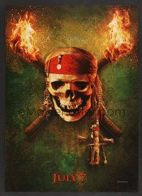 6a073 PIRATES OF THE CARIBBEAN: DEAD MAN'S CHEST teaser jumbo WC '06 image of skull between torches!