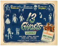 6b002 13 GHOSTS TC '60 William Castle, great art of all the spooks, cool horror in ILLUSION-O!