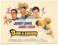 6b004 3 ON A COUCH TC '66 great art of screwy Jerry Lewis squeezing sexy Janet Leigh!