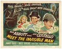 6b007 ABBOTT & COSTELLO MEET THE INVISIBLE MAN TC '51 Bud, Lou & Adele Jergens flee invisible man!