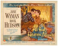 6b016 ALL THAT HEAVEN ALLOWS TC '55 great romantic art of Rock Hudson & Jane Wyman by fireplace!