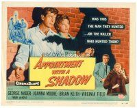 6b024 APPOINTMENT WITH A SHADOW TC '58 cool noir artwork of silhouette pointing gun at stars!