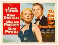 6b030 BAD & THE BEAUTIFUL TC '53 close up of Kirk Douglas in tux standing behind sexy Lana Turner!