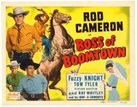 6b062 BOSS OF BOOMTOWN TC R49 Rod Cameron, Tom Tyler, Fuzzy Knight, cool cowboy artwork!