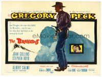 6b065 BRAVADOS TC '58 full-length art of cowboy Gregory Peck with gun!