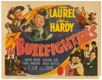6b070 BULLFIGHTERS TC '45 great wacky artwork & photos of Stan Laurel & Oliver Hardy!