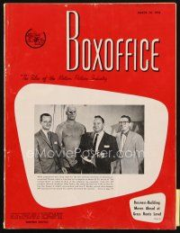 6d061 BOX OFFICE exhibitor magazine March 24, 1958 Revenge of Frankenstein, War of Colossal Beast!