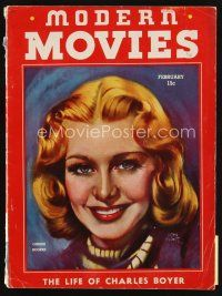 6d093 MODERN MOVIES magazine February 1938 art of pretty Ginger Rogers by Morr Kusnet!