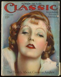 6d087 MOTION PICTURE CLASSIC magazine February 1927 art of glamorous Greta Garbo by Don Reed!