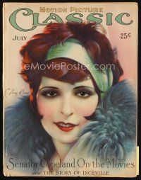 6d088 MOTION PICTURE CLASSIC magazine July 1927 incredible art of sexy Clara Bow by Don Reed!