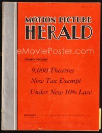 6d052 MOTION PICTURE HERALD exhibitor magazine April 3, 1954 widescreen gives all front row seats!