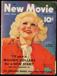 6d079 NEW MOVIE MAGAZINE magazine June 1933 great art of sexy Jean Harlow by McClelland Barclay!