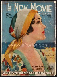6d076 NEW MOVIE MAGAZINE magazine September 1930 cool art of Gloria Swanson by Penrhyn Stanlaws!