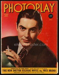 6d111 PHOTOPLAY magazine April 1940 great portrait of smokiing Tyrone Power by Paul Hesse!