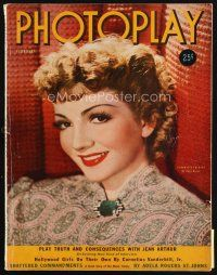 6d109 PHOTOPLAY magazine February 1939 smiling portrait of Claudette Colbert by Paul Hesse!