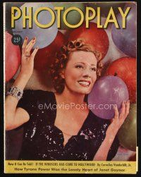 6d105 PHOTOPLAY magazine January 1938 portrait of pretty Irene Dunne w/balloons by George Hurrell!