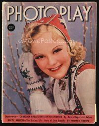 6d107 PHOTOPLAY magazine March 1938 portrait of pretty ice skater Sonja Henie by George Hurrell!