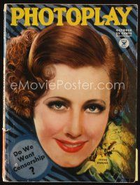 6d104 PHOTOPLAY magazine October 1934 art of Irene Dunne by Earl Christy, do we want censorship!