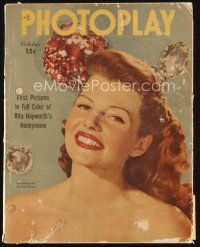 6d113 PHOTOPLAY magazine October 1945 smiling portrait of gorgeous Rita Hayworth by Paul Hesse!