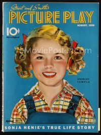 6d070 PICTURE PLAY magazine August 1938 great artwork of Shirley Temple by Modest Stein!